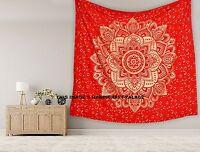Rot Gold Ombre Mandala Indisch Tagesdecke Wandbehang Queen Baumwoll Wandteppiche