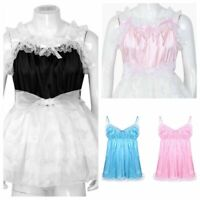 Women Mens Sissy Maid Dress Costume Crossdress Lace Satin Tulle Dress Nightwear