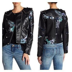 BLANK NYC New Womens Black Floral Studded Vegan Leather Moto Jacket Coat Size S