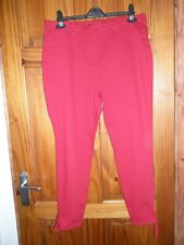 NEW - NEXT RED CROP DENIM LEGGINGS WITH TIE ANKLE DETAIL SIZE 16
