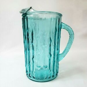 Pitcher Water Juice Anchor Hocking Tahiti Bamboo Blue Turquoise Aqua Glass VTG