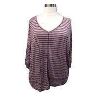 Lane Bryant Womens 26/28 Purple Heather Stripe Dolman 3/4 Sleeve Blouse Top
