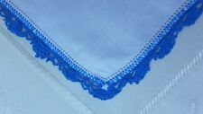 $3.99 Crochet Sale Beautiful Blue Crocheted Edge Hankie Handkerchief