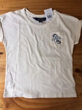 Girl Ralph Lauren Polo T Shirt Top Graphic Cream Age 5 New With Tags BNWT Gift