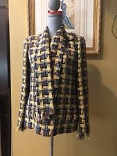 Chanel Vintage Tweed Jacket Size 42 pale yellow/ navy/ burgundy/ green tweed