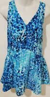 Maxine of Hollywood Empire Swimdress One Piece Swimsuit Blue Print Size 14