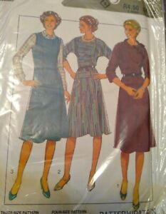 Vintage 1980s Style Pinafore Dresses Sewing Pattern #3939 10-12-14 UNCUT