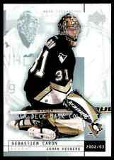 2002-03 Upper Deck Mask Collection Johan Hedberg Sebastien Caron #71