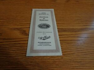 1944 Aetna Insurance Co Certificate Wibert Vault Peoria ILL Wilbert Haase Seal