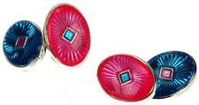 Mens Blue & Pink Circular Fashion Cufflinks & Gift Box By Onyx Art