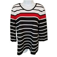 Allison Daley Sweater Top Woven Black Red Striped 3/4 Sleeve Semi-Sheer Size M