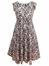 Womens Floral Calf 50s Retro Smart Wedding Party Dress Plus 16 18 20 22/24 26/28