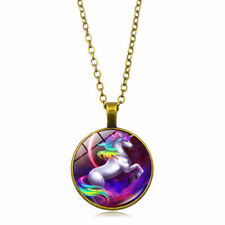 Charm Unicorn Photo Cabochon Dome Glass Tibet Silver Chain Pendant Pink Necklace