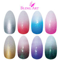 Bling Art Almond False Nails Red Blue Pink Brown Gold Black Gel Ombre Fake Glue