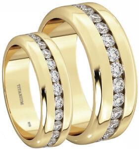 New His And Hers Created Diamonds Titanium Wedding Engagement Ring Set