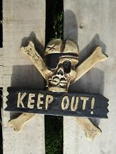Fair Trade Hand Carved Made Wooden Skull Keep Out Gothic Wall Art Plaque Sign