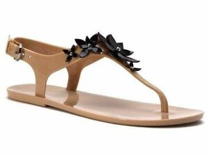 New Size 6 US Michael Kors Lola Jelly Thong Sandal Oyster Black Beige Flower WB