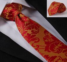 Uomo Cravatta Floreale In Raso Rosso Oro & Arancione tessuti Paisley Matrimonio Seta Cravatta REGALO