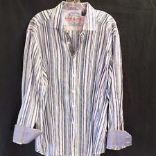Robert Graham Shirt Blue Striped Long Sleeve Button Up XL Flip Cuff