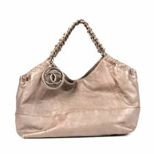 CHANEL Handbag Silver Leather With CC Fob