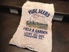 Vintage Cloth Seed Corn Sack Larson's Seed House Field & Garden Princeton Il