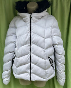Brave Soul Size 12 White Puffer Quilted Padded Black Faux Fur Hood Trim Jacket