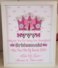 Personalised Framed Crown Bridesmaid/Flower Girl Thank You Gift Wedding Favour