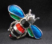 Bumble Bee Brooch Pin Enamel Silver Tone Multi-Color