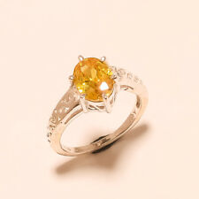 Bangkok Yellow Sapphire Gemstone Sterling Silver Solitaire Ring Wedding Jewelry