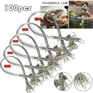 100pcs Stainless Steel Trace Wire Leader Fishing Line Leaders With Snap & Swivel