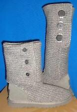UGG Grey Classic Cardy Knit Tall Boots Size US 8, EU 39, UK 6.5 Gray NEW 1016555