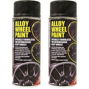 2 x Car Alloy Wheel Spray Paint MOTORSPORT BLACK Satin Chip Resistant 400ml