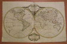 1784 Genuine Antique double hemisphere world map. Mappe-Monde. De Vaugondy