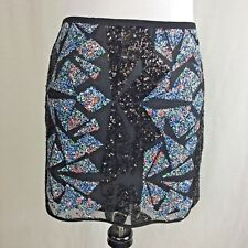 ASTR Women's Sequin Mini Skirt Geo Pattern Short Party Sexy Size Medium New $62