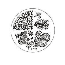 Stamping Schablone Stempel  Kreise Ranken Retro Blumen Schmetterling    STZ-19