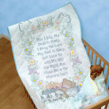 J DEMPSEY NEEDLEART Crib Quilt Top Embroidery Cross Stitch NOW I LAY ME DOWN