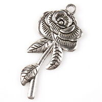 10x 145603 Fashion Flower & Leaf Charms Antique Silver Alloy Pendants Findings