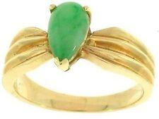 Natural Green Jadeite Jade Pear Shaped Stone Ring 14K Yellow Gold, Size 6