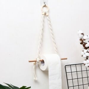 Wooden Wall Mount Paper Towel Holder Macrame Wall Hanging Nordic Boho Home Decor