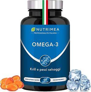 Olio di Pesce in Capsule Omega 3 Krill 1000 mg Olio di Sardine e Olio di Krill