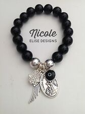 Black Agate bracelet Italian Guardian Angel, angel wing, Crystal Hamsa Evil Eye
