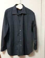GIORGIO ARMANI MEN BLACK SOLID COTTON CLASSIC DRESS SHIRT LONG SLEEVES 44 / 17.5