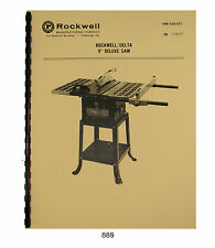 """Rockwell Delta 9"""" Deluxe Table Saw Operator & Parts Manual #889"""