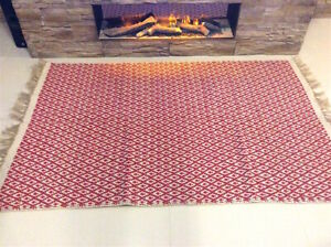 Red Geometric Handmade Recycled Cotton Jute Reversible In Outdoor Kilim Area Rug