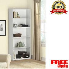 WOOD BOOKCASE 5 Shelf Adjustable Bookshelf Storage Wide Book Shelving Furniture