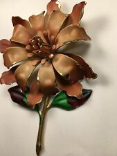 Brown Metal Flower Enamel Brooch Pin Unsigned With Stem And leaves Vintage