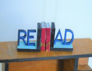 Dollhouse Miniature Books Ends Bookends Read Support Wood  1:12