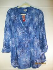 NWT Avenue Blue/Silver Sparkly 3/4 Tabbed Sleeve Tunic Top P9 - Size 18/20
