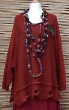 LAGENLOOK OVERSIZE WOOL MIX BEAUTIFUL QUIRKY HOLES JUMPER*RUST* SIZE XL-XXL