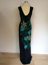 BRAND NEW DUCK & COVER BLACK WITH GREEN & BEIGE FLOWER PRINT MAXI DRESS SIZE S